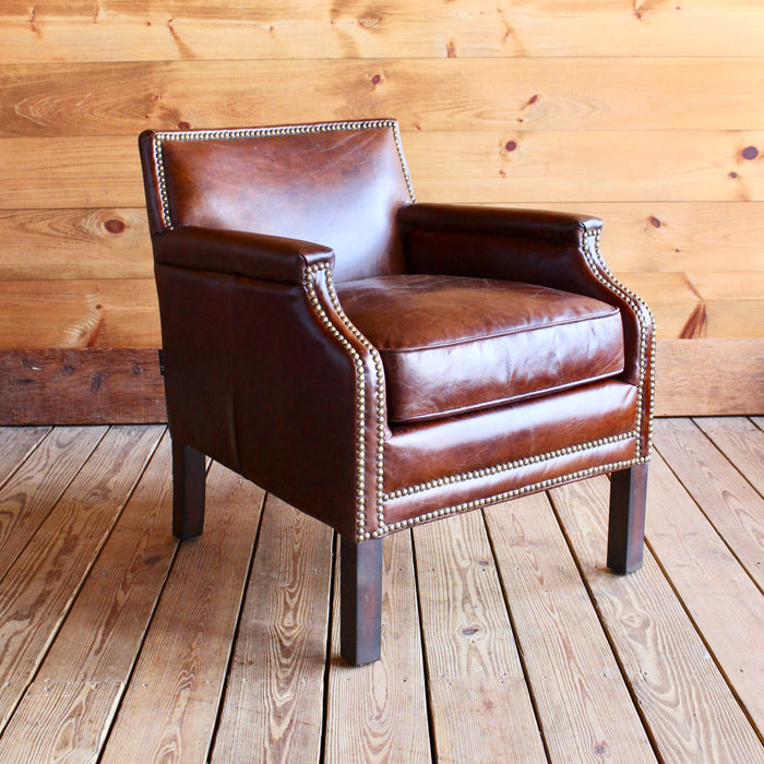petite leather club chair with nailhead trim