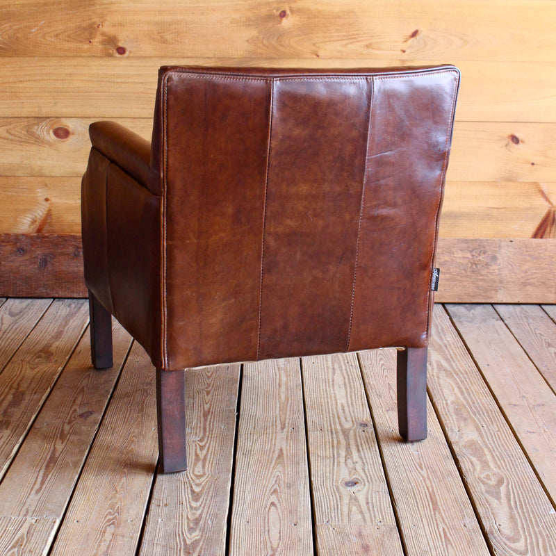 petite leather cub chair with nailhead trim