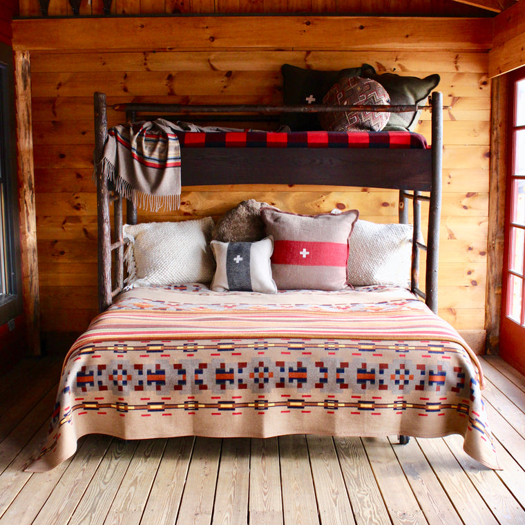 Adirondack Rustic Hickory Bunk Bed With Trundle