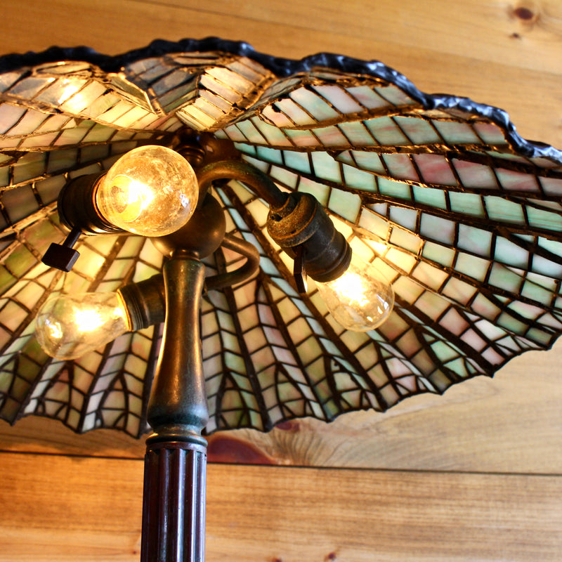 Bronze Slag Glass Lamp With Mosaic Base