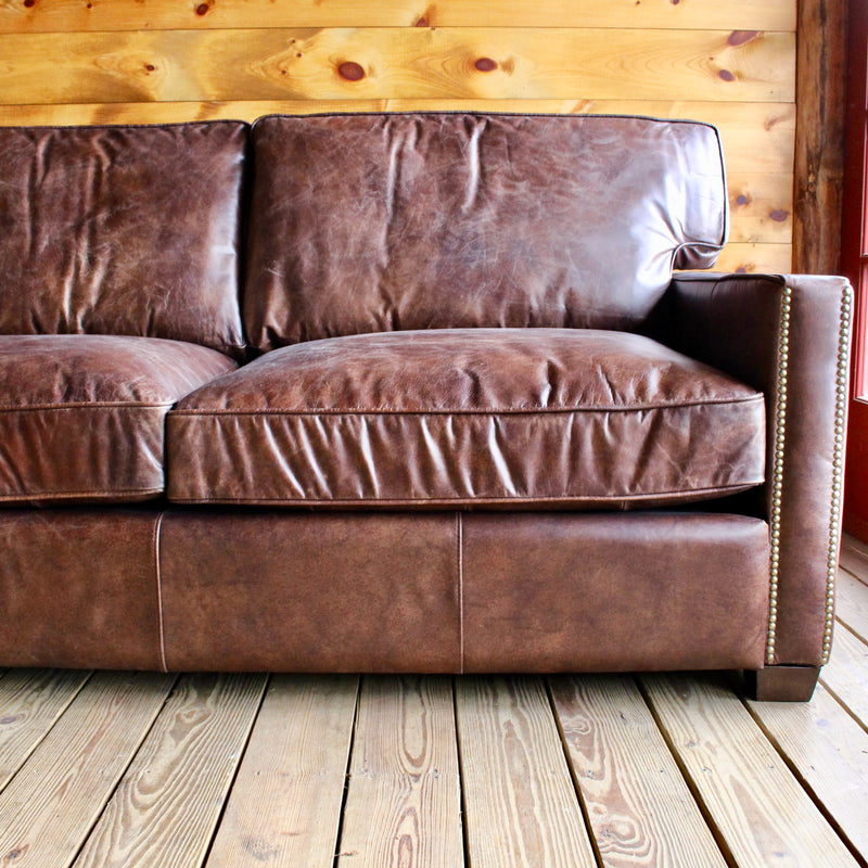 Cigar Leather Chaise Sectional
