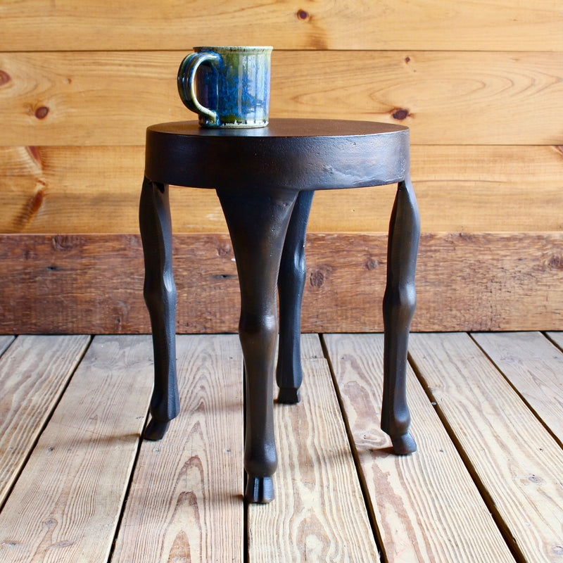 Aluminum Side Table with Hoofed Legs