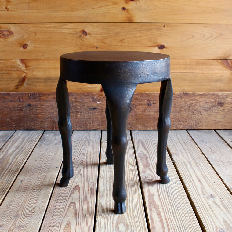 Rust-Finished Aluminum Side Table with Hoofed Legs