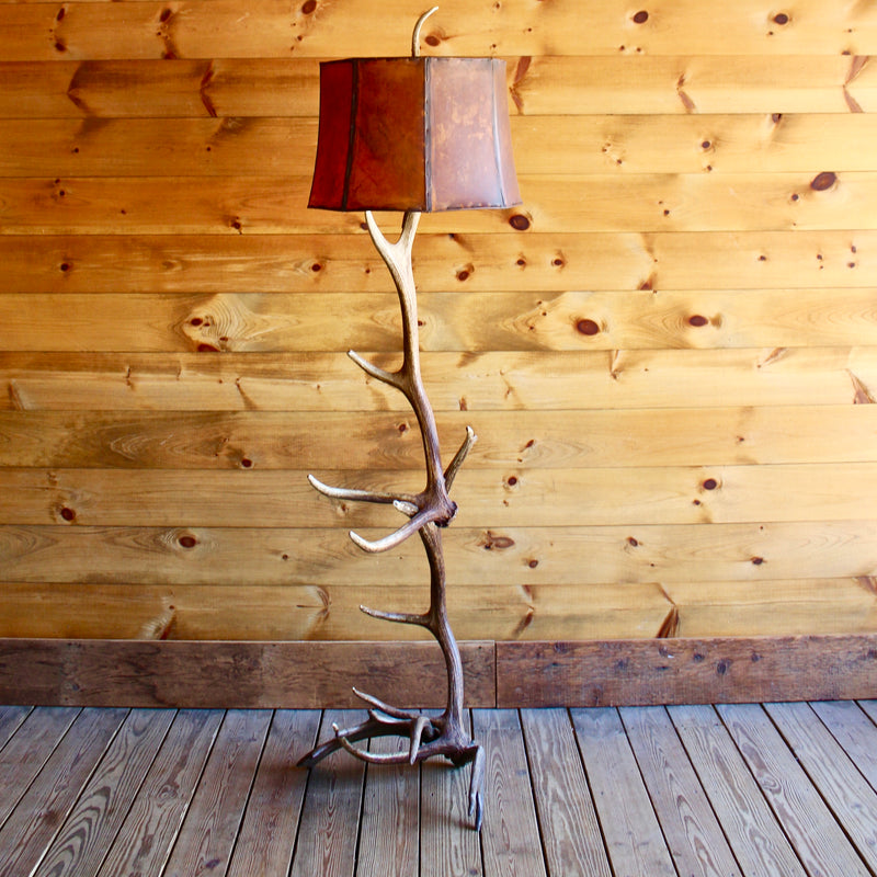 Elk & Moose Antler Floor Lamp with Rawhide Shade