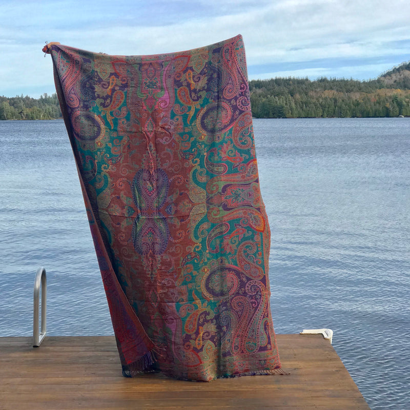 Multicolored Teal and Purple Boiled Wool Throw