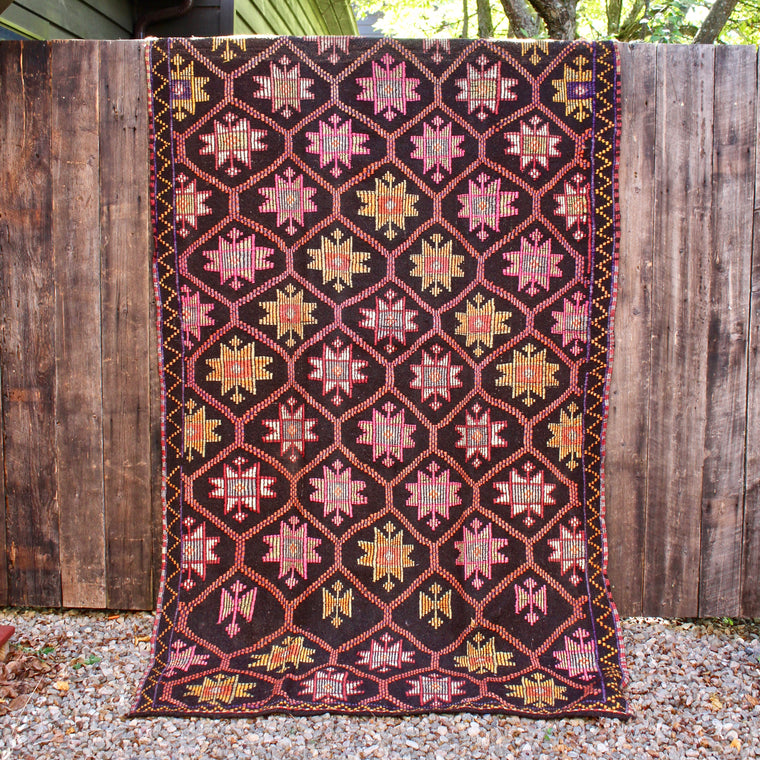 5' x 9'10 Hand Woven Turkish Cicim Kilim Wool Rug