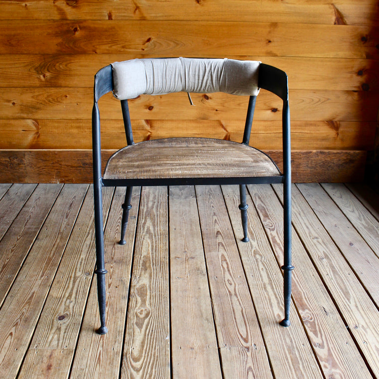 Metal Chair with Cotton Back Cushion