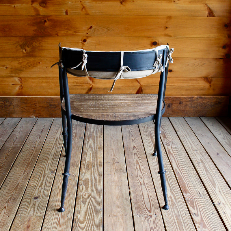 Metal Chair with Wooden Seat and Cotton Back Cushion