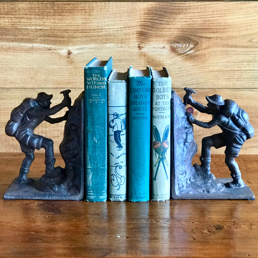 Cast Iron Rock Climber/Hiker/Mountaineer Bookends