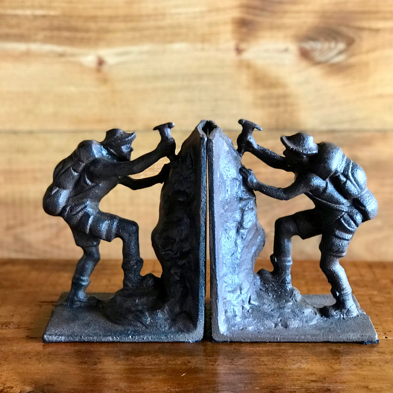 Iron Rock Climber/Hiker/Mountaineer Bookends