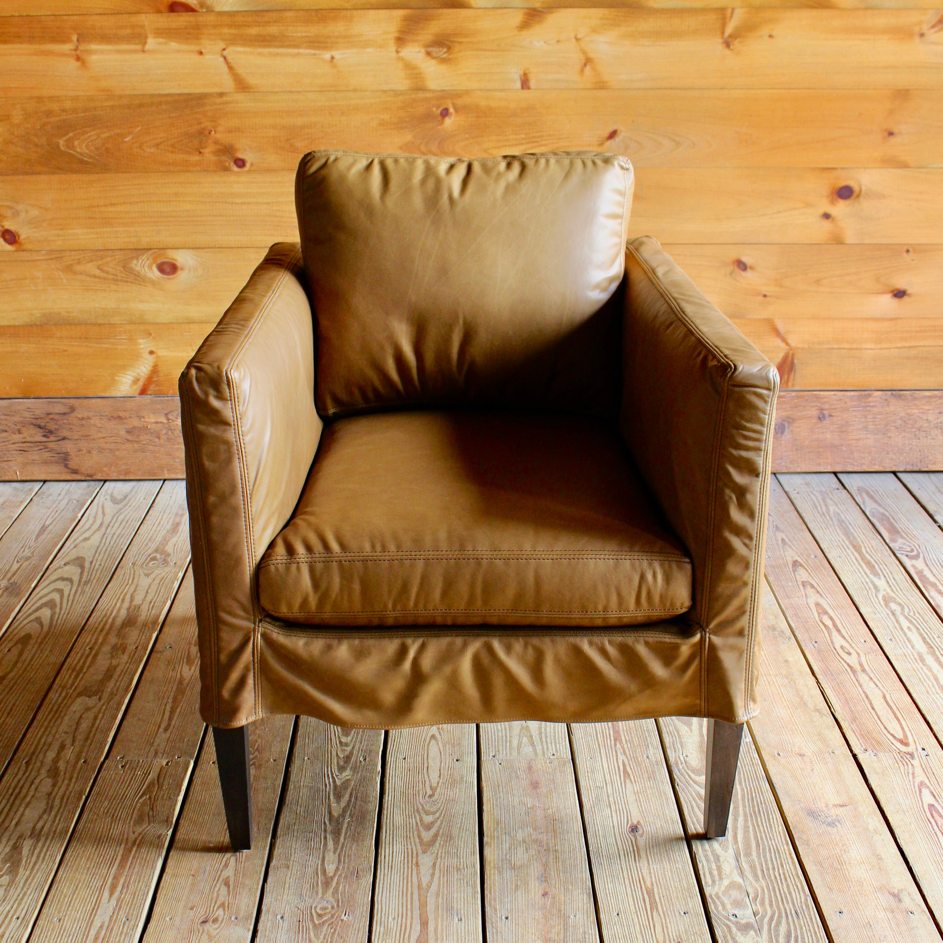 Leather Slipcover Club Chair