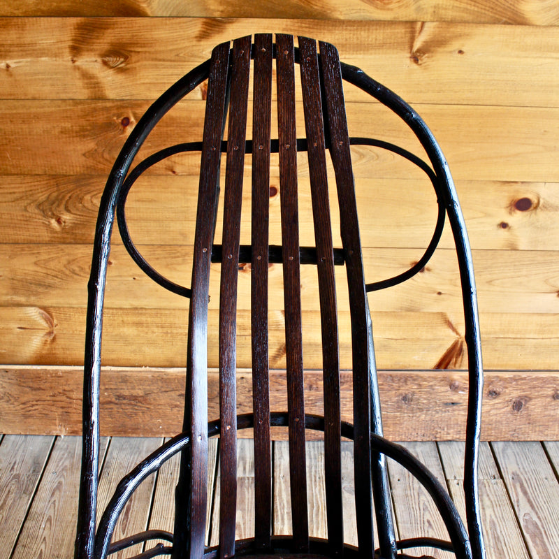 Adirondack Rustic Steam Bentwood Hickory and Slat Arm Chair