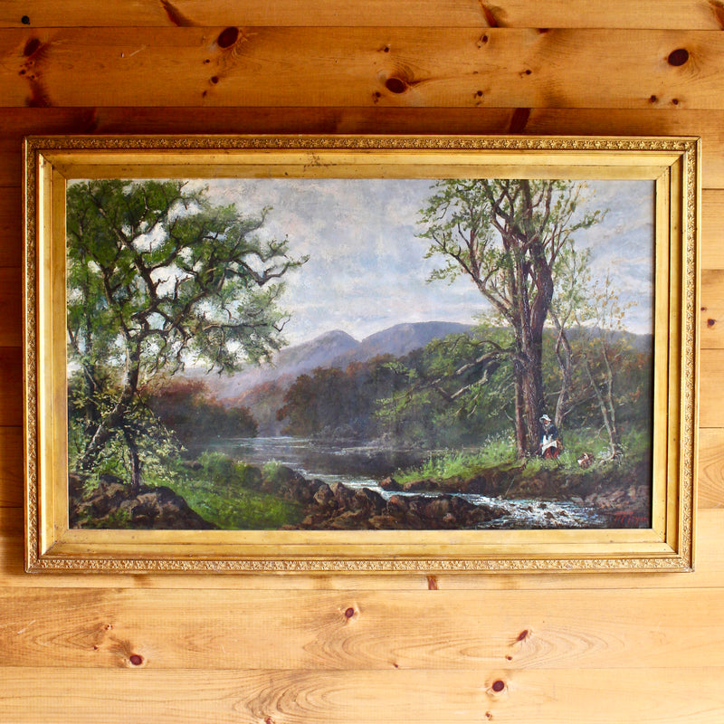"Vintage Oil On Canvas: ""On the Lower Saranac"""