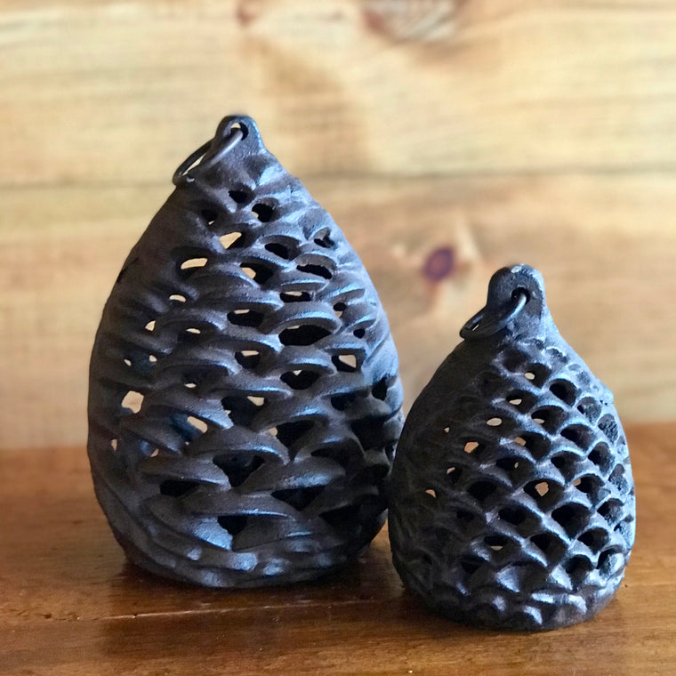Iron Pine Cone Votive Holders