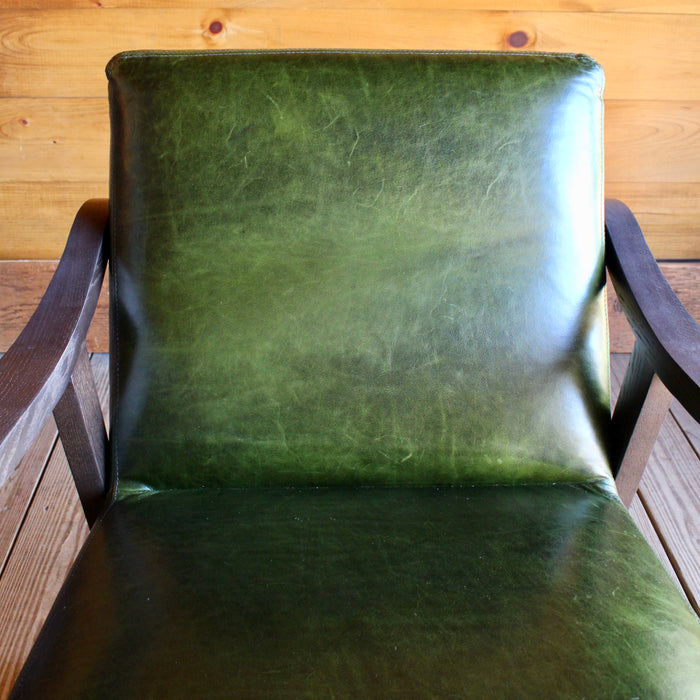 Green Lee Industries Leather Arm Chair with Wooden Frame