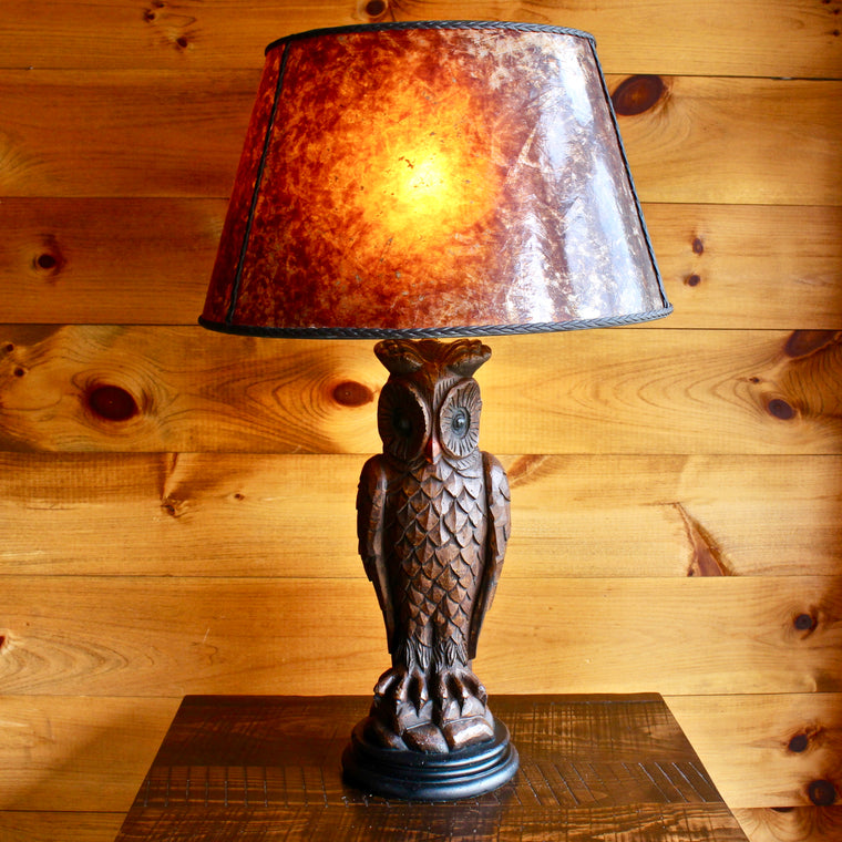 Vintage Chalkware Owl Table Lamp