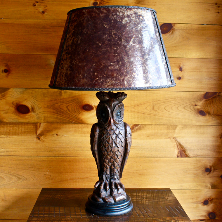 Vintage Chalkware Owl Table Lamp with Mica Shade