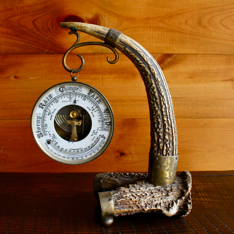 Very Rare Antique Antler Stand Barometer