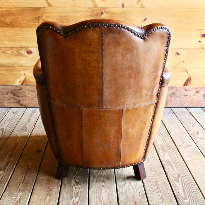 Buffalo Leather Club Chair with Nail Head Trim