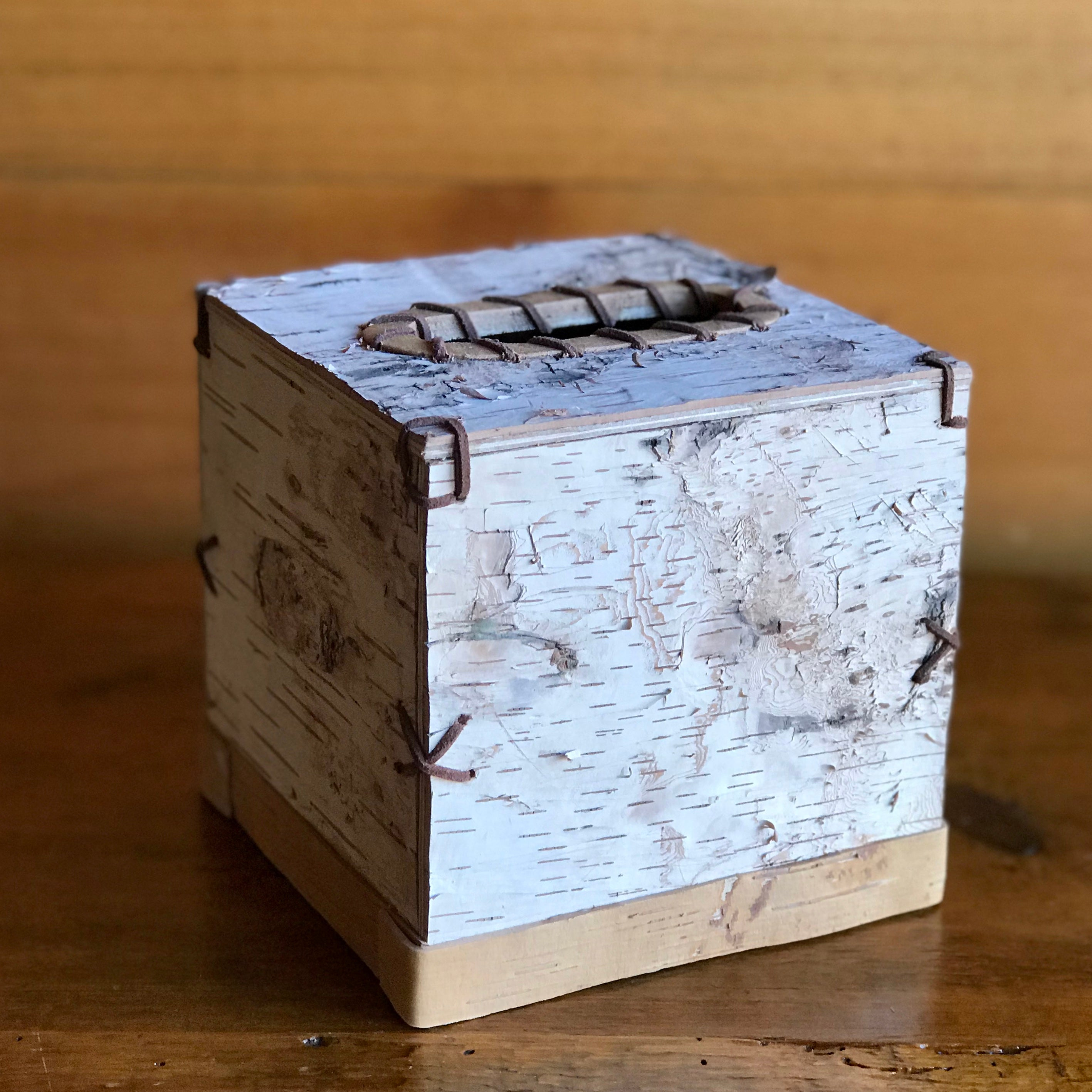 birch bark square tissue box cover with leather lace