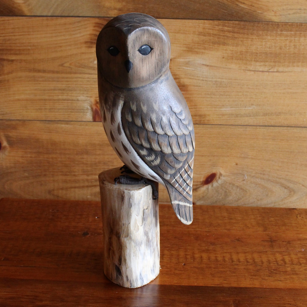 Brown Barn Owl Wood Carving