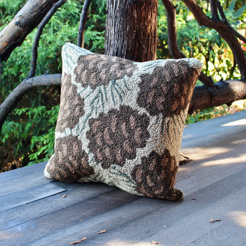 "Hooked Pinecone Pillow 18"" Cream"
