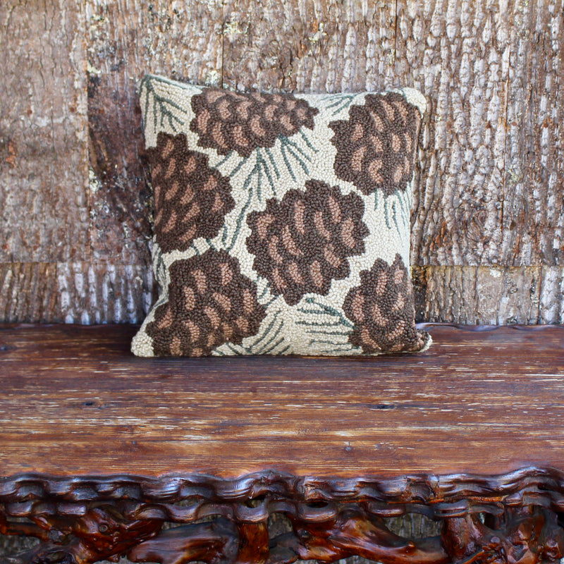 hooked wool pinecone pillow