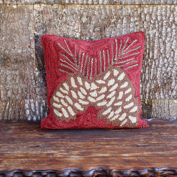 "Hooked Pinecone Pillow 18"" Red"