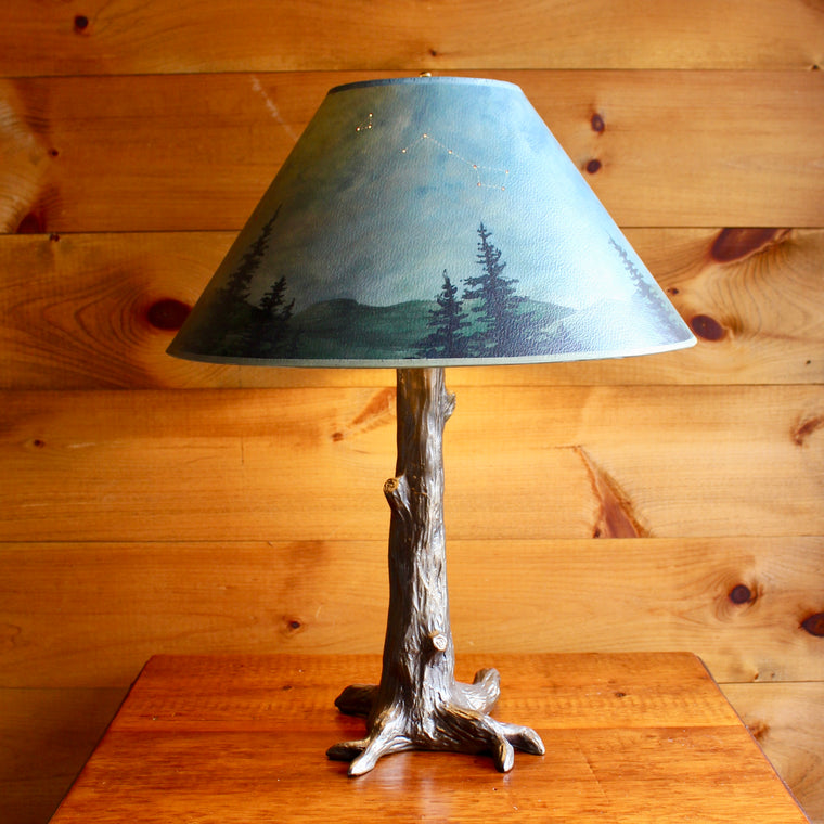 Bronze Tree Lamp Base with Hand Painted Twilight Shade