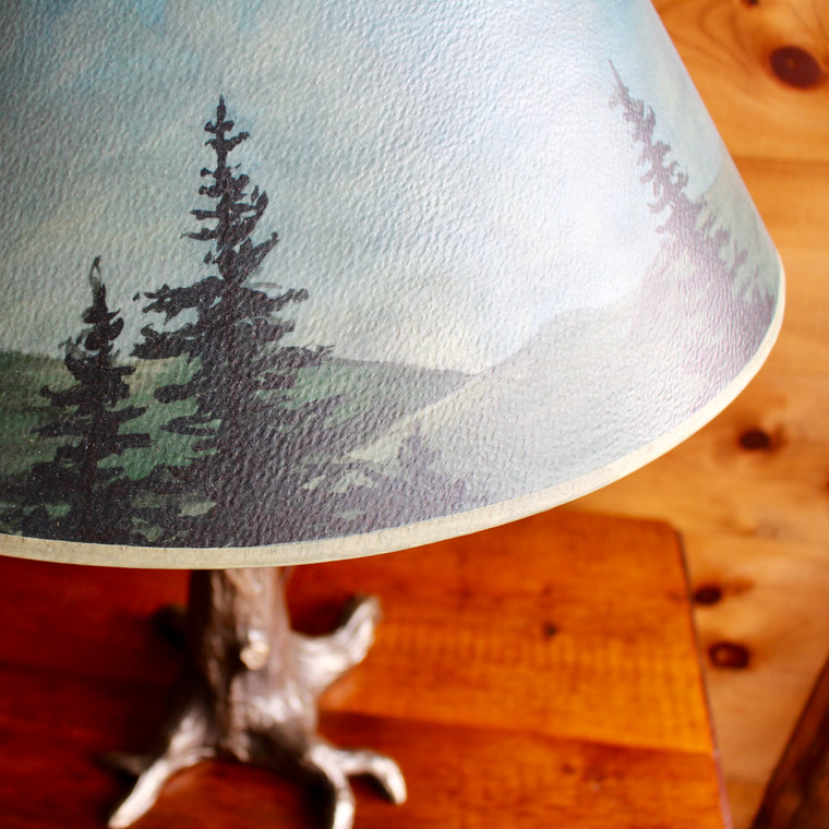 bronze tree lamp base with hand painted star lampshade