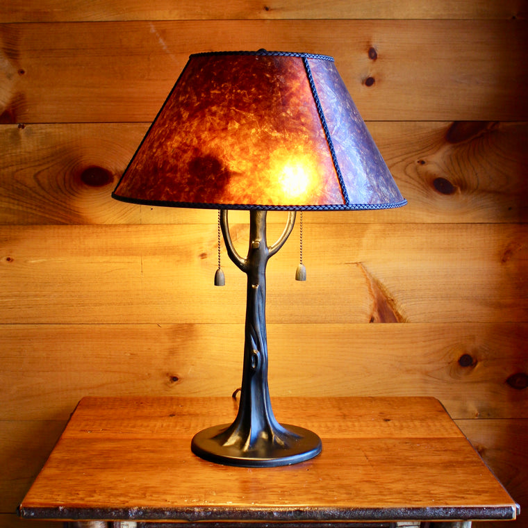 Metal Tree Lamp with Mica Shade