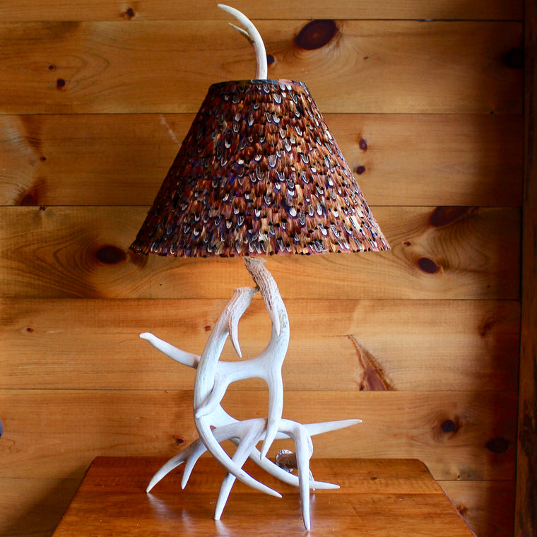 Whitetail Antler Lamp with Feather Shade