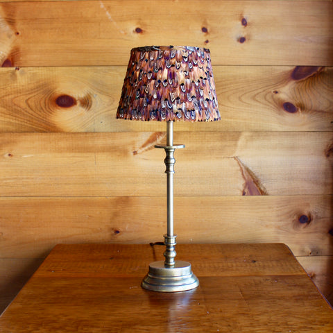 Brass Table Lamp with Feather Shade