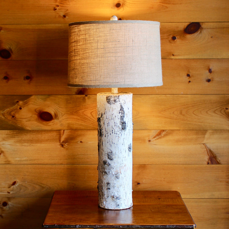 Birch Table Lamp with Burlap Shade