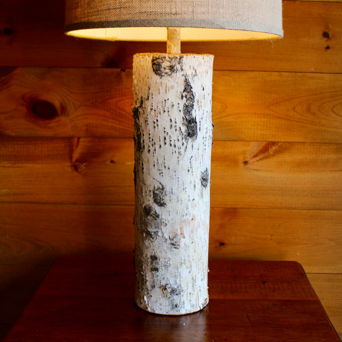 Birch Table Lamp with Round Burlap Shade