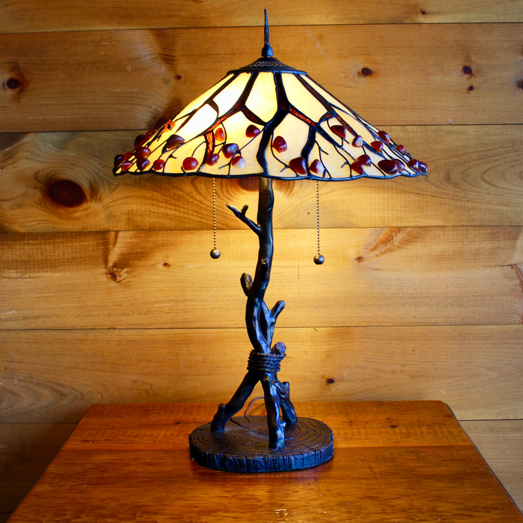 Agate Stone Iron Twig Table Lamp