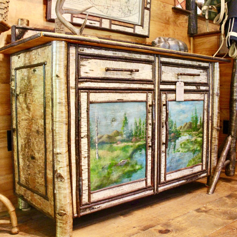 Birch Sideboard with Hand-painted Doors