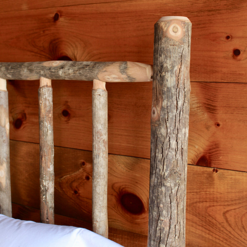Rustic Adirondack Natural Hickory Bed with Oak Side Rails
