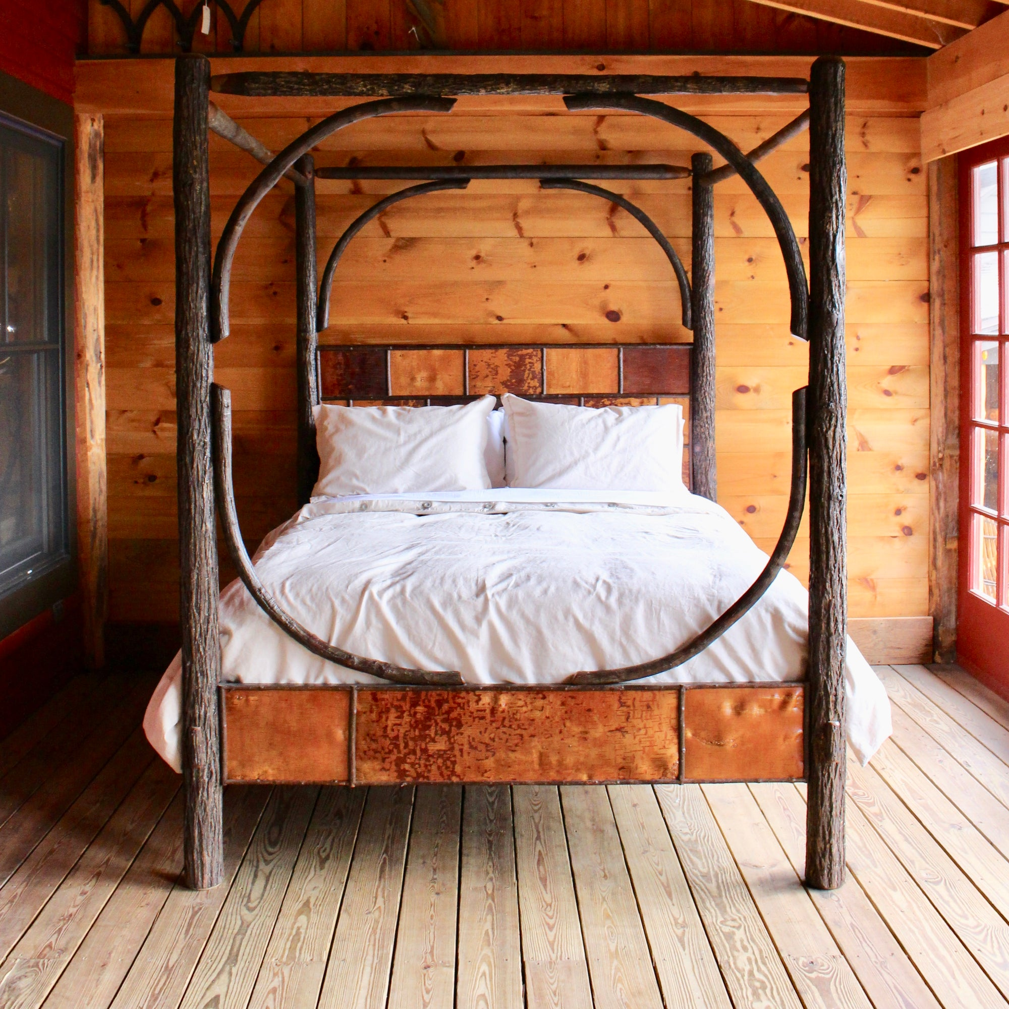 Sentinel Canopy Bed Adirondack Rustic Hickory Canopy Bed