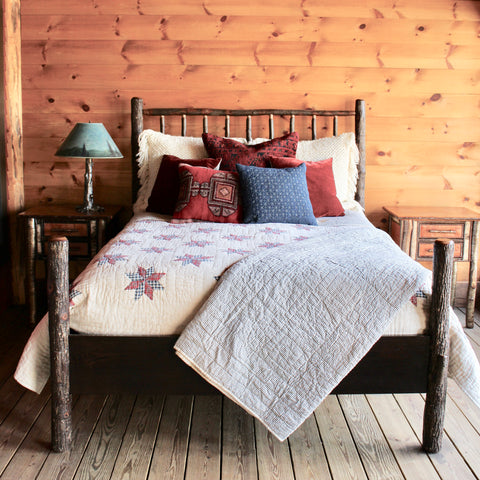 Adirondack rustic hickory queen bed