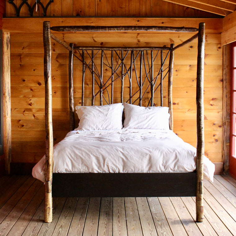 Handmade Rustic Adirondack Yellow Birch Canopy Bed with Branch Headboard