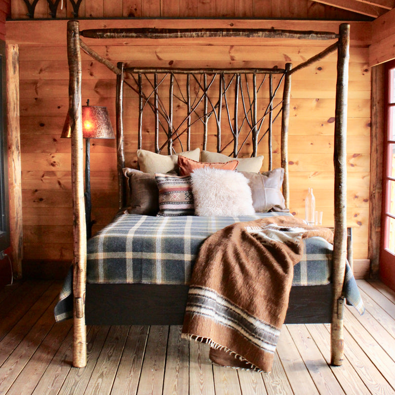 Handmade Rustic Yellow Birch Canopy Bed