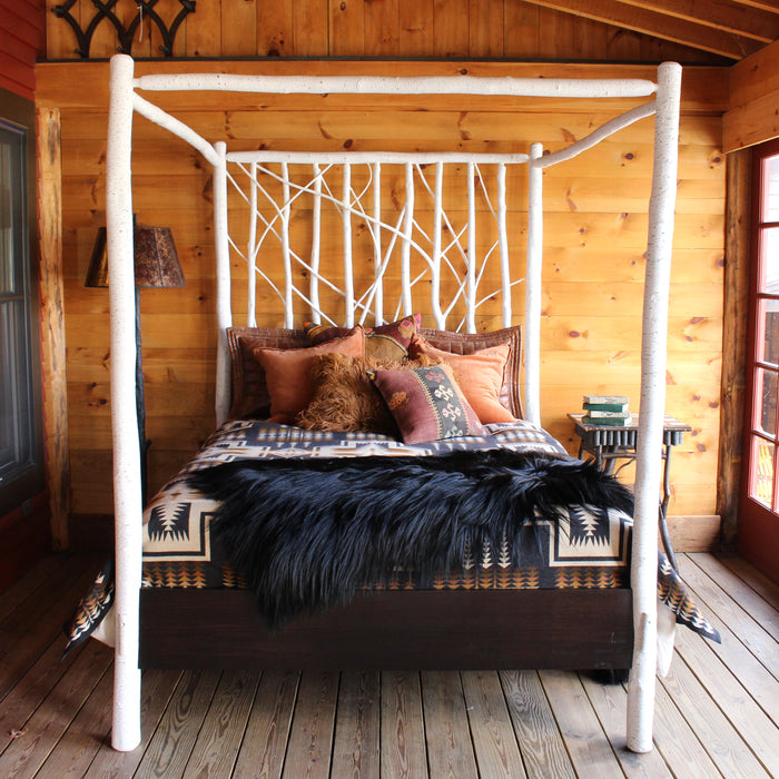 Rustic Faux Finished White Birch Canopy Bed