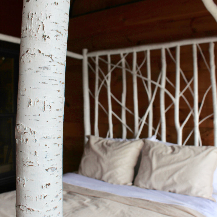 Adirondack Rustic Faux Finished White Birch Canopy Bed with White Birch Branch Headboard