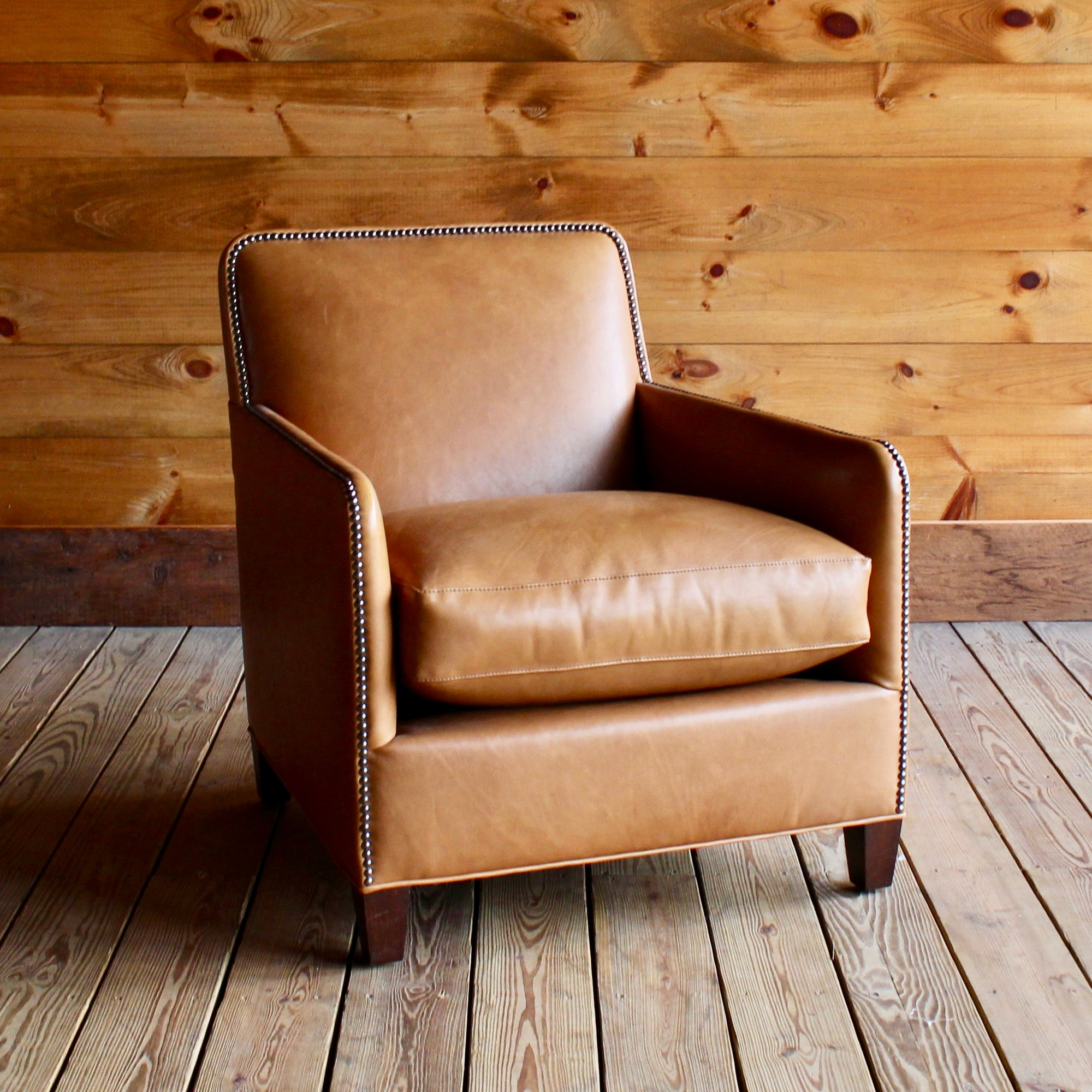 Merveilleux Camel Leather Chair With Sustainably Sourced Wood Frame And Nailhead Trim  ...