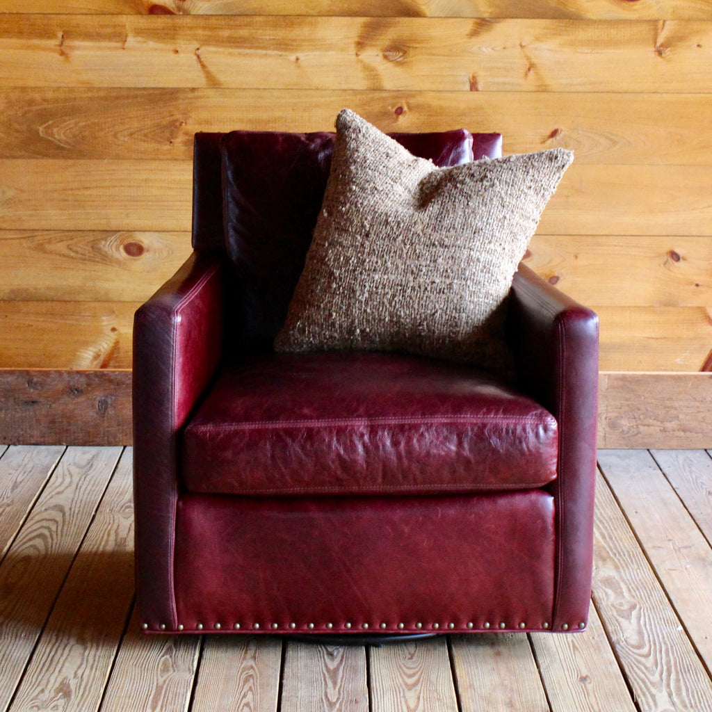 Grant Swivel Chair in Oxblood Leather with Nailhead Trim