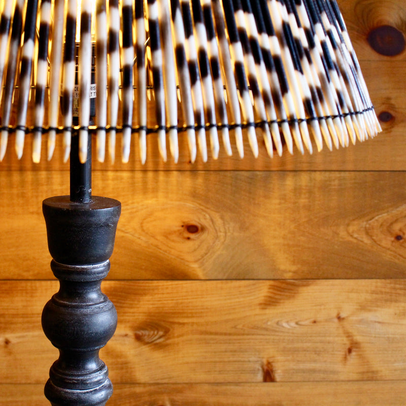 Turned Wood Floor Lamp with Porcupine Quill Shade