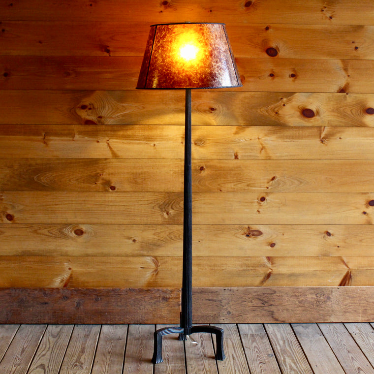 Aged Iron Floor Lamp With Mica Shade