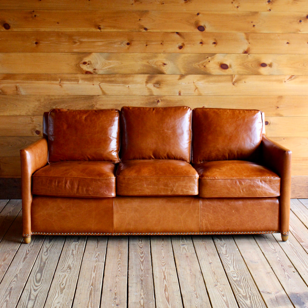 Leather Sofa with Nail Head Trim