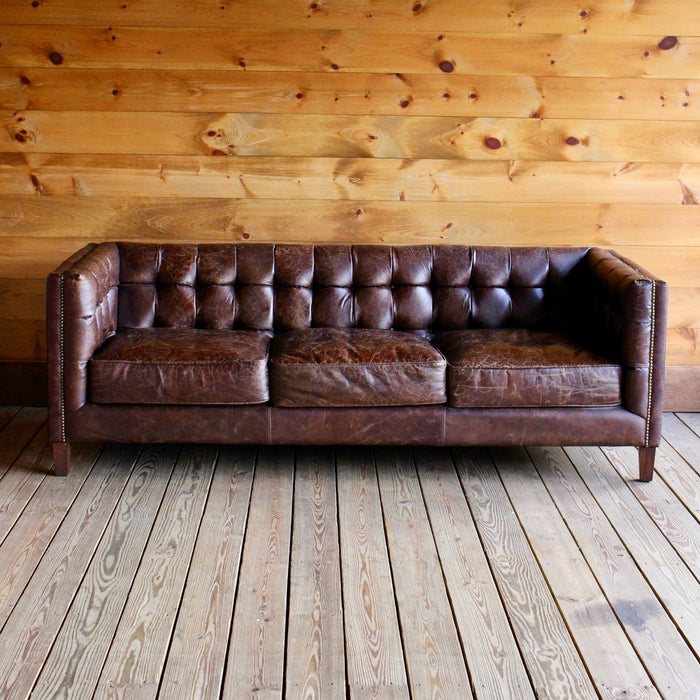 Tufted Leather Sofa with Nail Head Trim